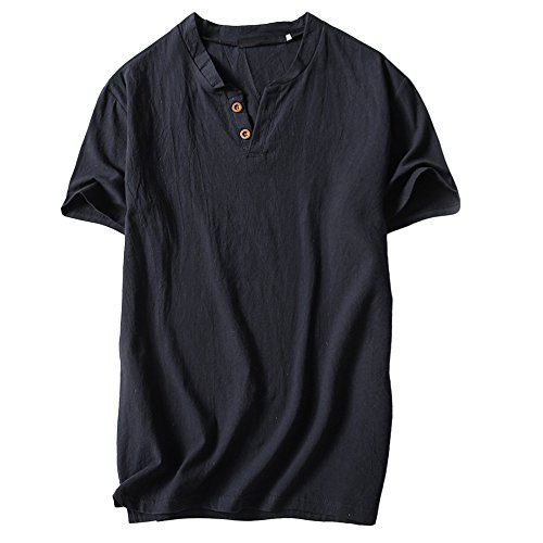 UFACE Herren Solide Baumwolle Leinen Yoga Bluse Langarm, Herren Sommer T-Shirt Baumwolle Leinen Thai Hippie Shirt V-Ausschnitt Strand Yoga Top Bluse t-Shirt Herren weiß t-Shirt Herren v-Ausschnitt (Herr Frau Fuchs Kostüm)
