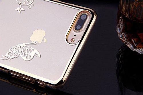 iPhone 7 Plus Coque,iPhone 7 Plus Case,iPhone 7 Plus Cover - Felfy Ultra-Mince Etui Soft TPU Slicone Case & Plastic Cadre & Miroir Blu-ray Design Housse Case Slim Gel Cover Etui de Protection Cas en c Papillon Or