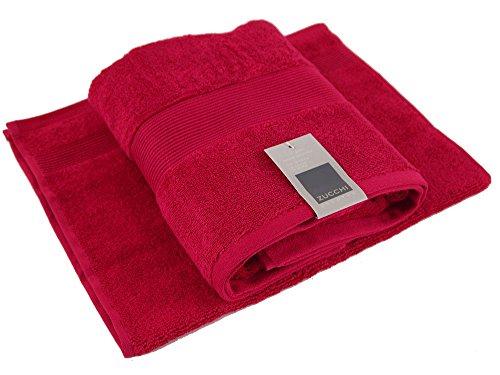 Set coppia 2 pezzi 1+1 asciugamano 60 x 110 + ospite 40 x 60 zucchi solotuo col.1106 rosso rubino tinta unita asciugamani 100% spugna di puro cotone