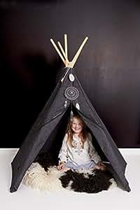 anthrazit - Roommate Hippie Tipi - Original Hippie Tipi Kinderzelt, Indianerzelt, Spielzelt des skandinavischen Kultlabels Roommate - für Innen und Außen