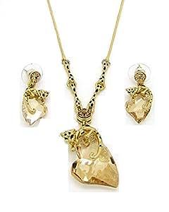 Parure léopard panthère plaqué or coeur et cristal