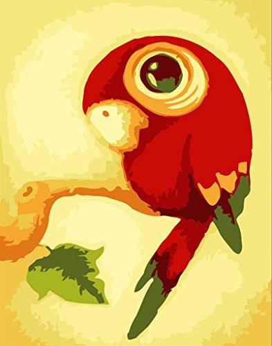 YEESAM ART Neuerscheinungen Malen nach Zahlen für Erwachsene Kinder - Rot Papagei 16 * 20 Zoll Leinen Segeltuch - DIY ölgemälde ölfarben Weihnachten Geschenke