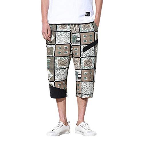 GreatestPAK Baggy Pants Herren New Vintage Print Weite Hosen Cropped Pants,Grün,EU:L(Tag:2XL) 5-pocket-cropped Pants
