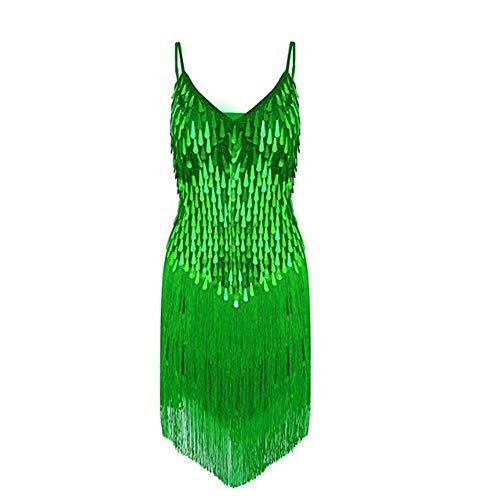 Damen Performance Kleid Frauen Dancewear Sleeveless Wassertropfen Pailletten Fransen Quasten Ballsaal Samba Tango Latin Dance Dress Wettbewerb Kostüme ( Farbe : Grün , Größe : Einheitsgröße )