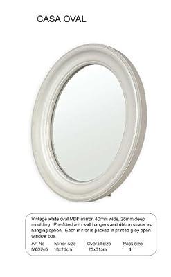 Innova Wandspiegel CASA VINTAGE OVAL Weiß (3746)- Rahmen 40mm Breit x 28mm Tief, MDF Holz- Spiegel 18x24 cm -Gesamtgröße 25x31 cm- Barock Rund Deco Antik