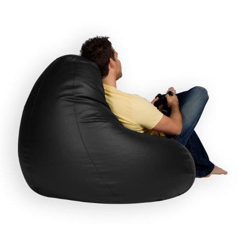 Bean Bag Bazaar® Gaming Sitz Sack Designer Liegesessel SCHWARZ Lederimitat - 4