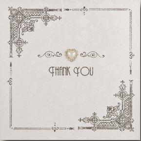 HWM1 Dankeskarte, englische Aufschrift Thank You, handgemacht