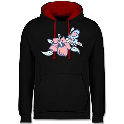 Blumen & Pflanzen - Blumen - Kontrast Hoodie Schwarz/Rot