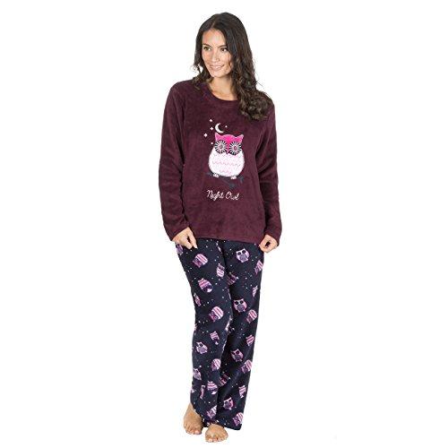 Forever Dreaming Damen Schlafanzug, Figur Burgundy Owl