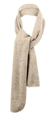 Port Authority® Heathered Knit Scarf. FS05 Oatmeal Heather/Brown OSFA