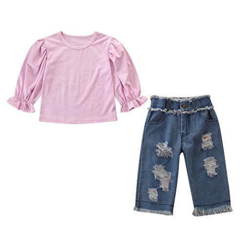 Lookhy Kinder-Kit,Kleinkind Kinder Baby Mädchen Outfits Kleidung Langarm T-Shirt Top + Karierte Hose Set Bekleidungsset 3 Stück Spitzen Blusen Denim Jacke Lang Hosen Gestickt Blumen Set