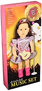 The New York Doll Collection E155 Juego de Guitarra y micrófono de 18 Pulgadas, Incluye paño, para muñecas American Girl, Multicolor