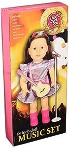 The New York Doll Collection- E155 Juego de Guitarra y micrófono de 18 Pulgadas, Incluye paño, para muñecas American Girl