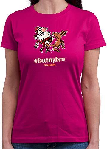 HARIZ  Damen T-Shirt Rundhals Pixbros Bunnybro Xmas Weihnachten Kinder Geschenke Winter Plus Geschenkkarten Pink XXL