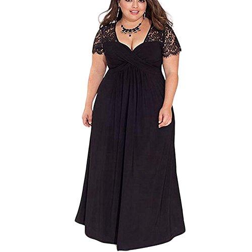 FeelinGirl Damen Plus Size Große Größen Elegantes Langes Spitzenkleid Cocktailkleid Abendkleid...
