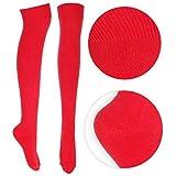 Ladies Over the Knee Socks Plain Red