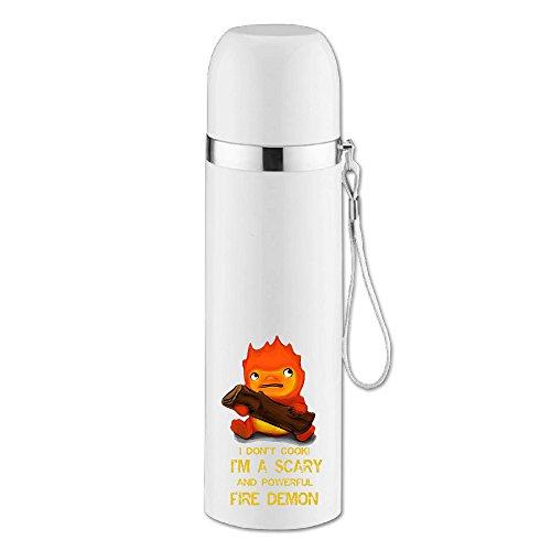 caryonom Studio Ghibli Howl 's Moving Castle Calcifer isoliert Wasser Flasche Travel Mug Vakuum Cup für Office Home Outdoor Erwachsene Kinder (Erwachsene Kung Fu Panda Kostüme)