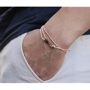 Dezentes Armband für Herren - edles Wickelarmband für Männer Minimalistisch - stufenlos verstellbar mit Karabiner-Haken Gold (Retro)