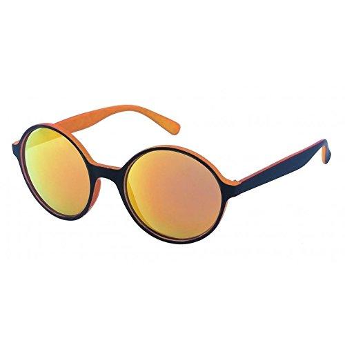 Chic-Net Sonnenbrille rund John Lennon Stil 400UV schwarz bunt verspiegelt zweifarbig orange