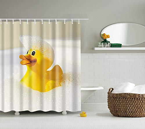 tergrund 1 gelbe Ente in der Badewanne-Badeblase 3D Digitaldruck Duschvorhang 180 × 180CM + 12 Haken wasserdicht und schimmelresistent ()
