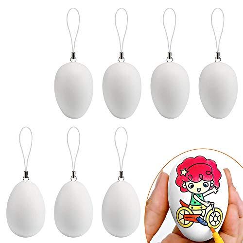 Naler 24 pezzi di plastica bianco uovo di pasqua con corda appesa loop string per bambini regalo giocattolo di pasqua casa decorazione del partito fai da te