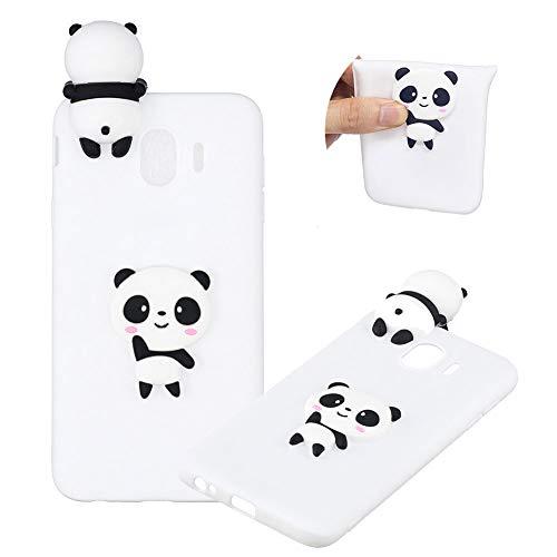 TPU Hülle für Samsung Galaxy J4 2018,Weich Silikon Hülle für Samsung Galaxy J4 2018,Moiky Komisch 3D Weiß Panda Entwurf Ultra Dünnen Scratch Resistant Soft Rückseite Abdeckung Handyhülle
