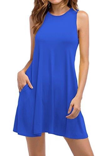 Damen ZJCTUO Ärmellos Mini Legeres Lose T-Shirt Swing Kleid(38,Königsblau) (Legeres Kleid Ärmelloses)