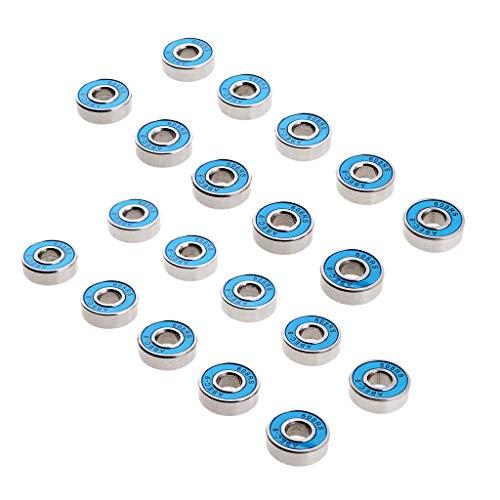 20 Pack 608RS Kugellager Doppelte Miniatur Rillenkugellager Für Skateboards, Inline Skates, Roller (8 X 22 X 7 Mm, Blau)