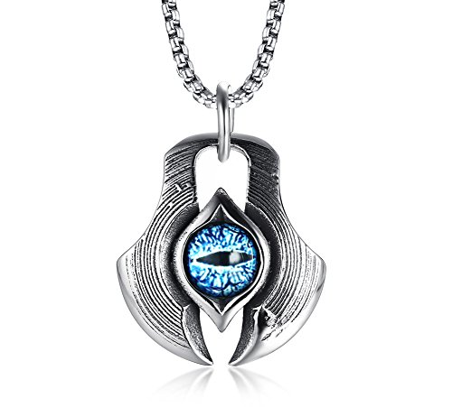VNOX Collana in argento da uomo in acciaio inossidabile con collana di...