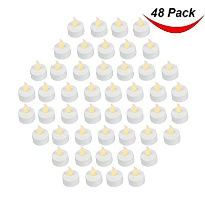 Pack of 48 Realistic and Bright Battery Operated Flickering Flameless Tea Light Led Candles, 3.5cmx4.2cm Tall, Electric Fake Candle with Batteries Included - Yellow - Bargain Outlet from Bargain Outlet