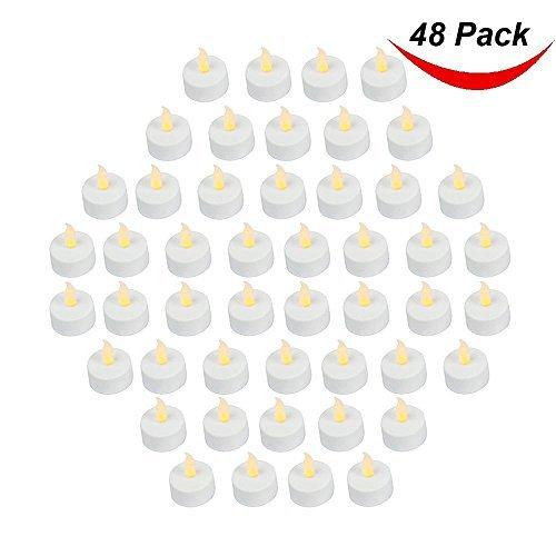 Packung 48 realistisch und hell batterienbetrieben flackernd Flameless Tee Licht LED Kerzen,3.5cmx4.2cm hoch,elektrisch gefälschte Kerze mit Batterien inklusive - gelb - BARGAIN Outlet