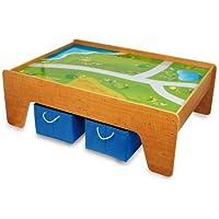 Preisvergleich für Spieltisch / Kindermöbel aus Holz inkl. 2 Aufbewahrungsboxen aus Textil, für Kinder ab 2 Jahre geeignet