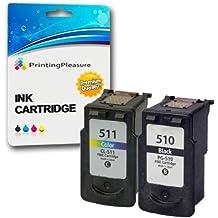 2 Compatibles Canon PG-510 CL-511 Cartuchos de tinta para Pixma iP2700 iP2702 MP230 MP235 MP240 MP250 MP252 MP260 MP270 MP272 MP280 MP282 MP480 MP490 MP492 MP495 MP499 MX320 MX330 MX340 MX350 MX360 MX410 MX420 - Negro/Color, Alta Capacidad