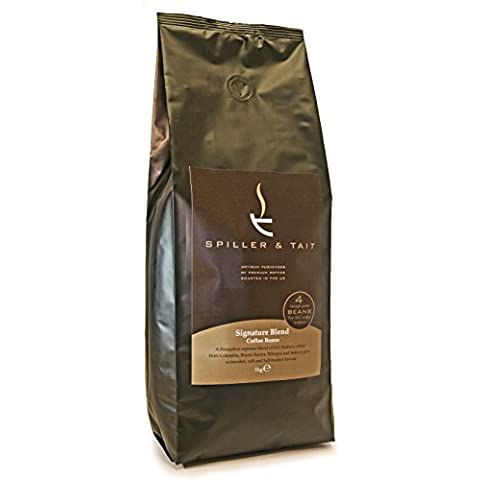 Spiller & Tait Coffee Beans 1kg Bag - Best Speciality Coffee Roasted in the UK - Award Winning - Gourmet Beans for Great Tasting Coffee at Home - Espresso Blend Suitable for All Coffee Machines - Premium Arabica Beans Give Balanced Flavour - Rare Purchase - Unique Coffee Gift - SIGNATURE BLEND