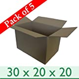 """5 x Large Sturdy Home Removal Moving Cardboard Boxes - Double Wall - 30"""" x 20"""" x 20"""" / 762mm x 508mm x 508mm"""