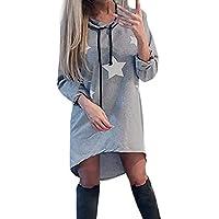 Damen Elegant Kleider Hoodie T-Shirt Kleid Langarmkleid Hülsen Strandkleid Lose Einfache Einfarbig Kleidet beiläufige Pentagramm Drucken Frauen Casual Cocktailkleid mit Kapuze Kleid