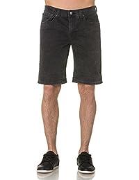 Bellfield - Bermuda Homme en Jeans Noir Délavé