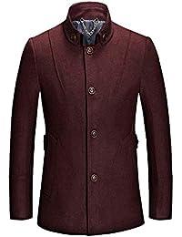 QK-Lannister Cappotto da Uomo Business Casual Giacca Invernale Ragazzo  Tinta Unita Vintage Slim Fit ba0bc3600e8