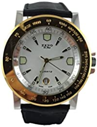 Reloj Suiza Zeno, clásico, luneta chapado oro, pulsera cuero negro