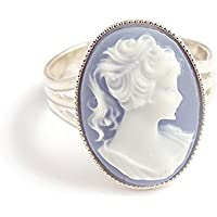 LunarraStar Beautiful Blue cameo ring - Victorian gothic Adjustable silver steampunk