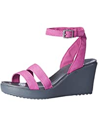 57c725fc602628 crocs Women s Leigh Wedge Wild Orchid and Charcoal Canvas Fashion Sandals -  W5
