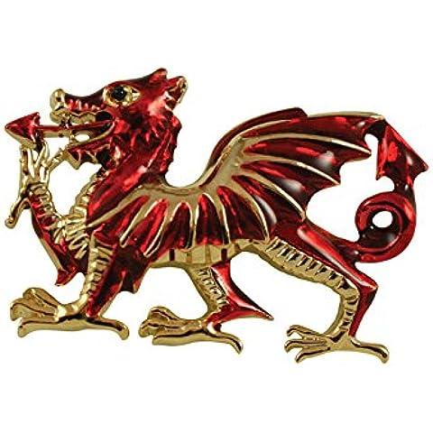 Diseño de Dragón Galés con esmalte rojo con tono de oro broche con forma de caja de regalo