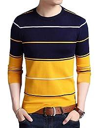 EYEBOGLER Regular Fit Men's Striped Yellow T-Shirt (T305-AS10YLDNWH_1)