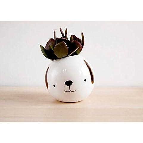 Macetero redondo de ceramica el perro Pepe blanco para interior y exterior. Maceta pequeña de ceramica divertida para cactus, flores y plantas crasas.
