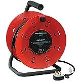Electrovision - Rallonge Enrouleur Rouge/Noir avec Poignée et Bouton Reset. Norme U.K. - Dimensions: 40m