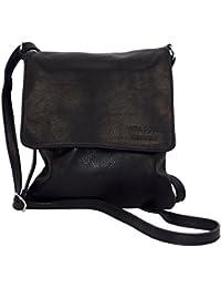 463f8121fb1b9 Ital Echt Leder Damentasche Handtasche Ledertasche Schultertasche  Umhängetasche schwarz