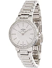 Rotary Women's Quartz Watch with White Dial Analogue Display and Silver Stainless Steel Bracelet LB90081/02