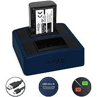 Batería + Cargador doble Compact (USB) para NP-FH50, FP50 | Sony DSC-HX1, HX100(V), HX200(V) | Alpha 330.. | HDR-TG1.. e più - v. lista - Cable USB micro incluido