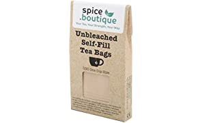 UNBLEACHED Self Fill TEA BAGS spice.boutique, ideal for herbal, speciality and loose leaf teas, paper filter sachets (One Cup (100 bags, 7x5cm))