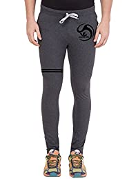 American-Elm Men's Dark Grey,Black Printed Track Jogger